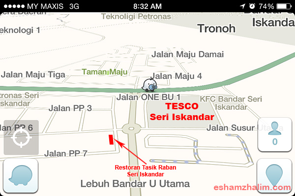peta-lokasi-restoran-tasik-raban-seri-iskandar-map-eshamzhalim
